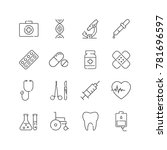 set of line medical icons. for... | Shutterstock .eps vector #781696597
