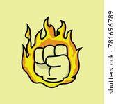fiery fist of pain | Shutterstock .eps vector #781696789