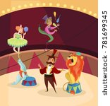 artists on circus stage. lion... | Shutterstock .eps vector #781699345
