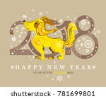 cute yellow dog and snowflakes. ... | Shutterstock .eps vector #781699801