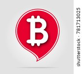 bitcoin icon red with soft... | Shutterstock .eps vector #781713025