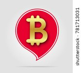 bitcoin icon gold with red | Shutterstock .eps vector #781713031
