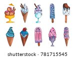 watercolor hand drawn colorful... | Shutterstock . vector #781715545
