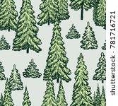 pattern of the fir trees | Shutterstock .eps vector #781716721