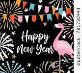 happy new year greeting card ... | Shutterstock .eps vector #781732441
