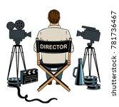 stage director on set pop art...   Shutterstock .eps vector #781736467