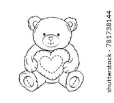 teddy bear toy with heart... | Shutterstock .eps vector #781738144