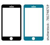 two smartphones in black   blue ... | Shutterstock .eps vector #781748719