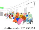 simple sketch  colorful people... | Shutterstock .eps vector #781750114