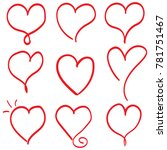 hand drawn hearts. design... | Shutterstock .eps vector #781751467
