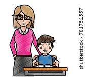 boy teacher and book design | Shutterstock .eps vector #781751557