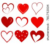creative hand drawn love hearts.... | Shutterstock .eps vector #781752034