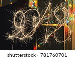 writing 2018 with sparkler   Shutterstock . vector #781760701
