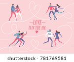 cartoon ice skating pairs set.... | Shutterstock .eps vector #781769581