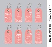 price tags and gift cards tied... | Shutterstock .eps vector #781771597