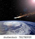 comet over the earth. meteor... | Shutterstock . vector #781780939