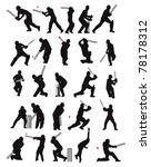 25 detail cricket poses in... | Shutterstock .eps vector #78178312