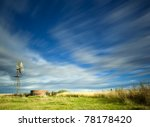 Windmill In Field With Motion...