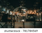 empty glasses for wine above a... | Shutterstock . vector #781784569