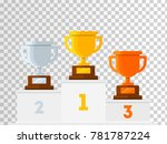 winners podium with gold ... | Shutterstock .eps vector #781787224