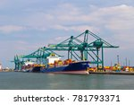huge container ships being... | Shutterstock . vector #781793371