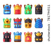 school backpacks set. kids... | Shutterstock . vector #781794511
