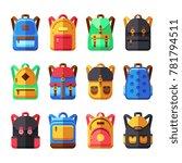 school backpacks set. kids... | Shutterstock . vector #781794511