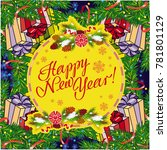 winter holiday greeting card... | Shutterstock . vector #781801129