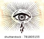 all seeing eye crying watery... | Shutterstock .eps vector #781805155