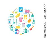 clean house concept with... | Shutterstock . vector #781805677