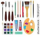 different materials for artists....   Shutterstock . vector #781814197