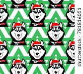 husky in the cap of santa.... | Shutterstock .eps vector #781816051