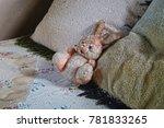 Stuffed Animal  Rabbit  On Bed...