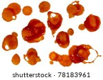 Ketchup splashes or blood stains isolated on white background.