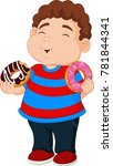 cartoon boy eating donut | Shutterstock .eps vector #781844341