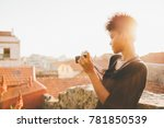 cute young black brunette... | Shutterstock . vector #781850539