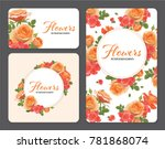 rose flowers in orange color... | Shutterstock .eps vector #781868074
