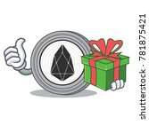 with gift eos coin character... | Shutterstock .eps vector #781875421