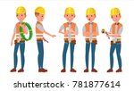 electrician. different poses.... | Shutterstock . vector #781877614