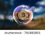 gold coins bitcoin in a soap...   Shutterstock . vector #781882801