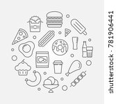 junk food circular outline... | Shutterstock .eps vector #781906441