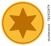 6 corners star golden coin icon.... | Shutterstock . vector #781923979