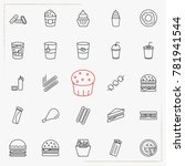 fast food line icons set | Shutterstock .eps vector #781941544