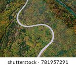 aerial view of a curly road | Shutterstock . vector #781957291