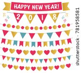 new year 2018  isolated vector... | Shutterstock .eps vector #781958581