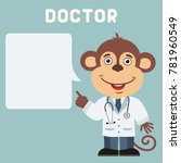 doctor monkey with bubble... | Shutterstock .eps vector #781960549