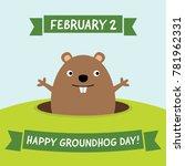 happy groundhog day  vector... | Shutterstock .eps vector #781962331