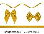 set of christmas red satin bows ...   Shutterstock . vector #781964011