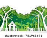 green eco city and urban... | Shutterstock .eps vector #781968691