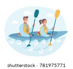 vector cartoon funny... | Shutterstock .eps vector #781975771